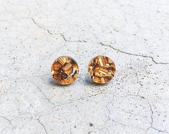 Disco - Bronze laser cut round circle glitter acrylic stud post earrings
