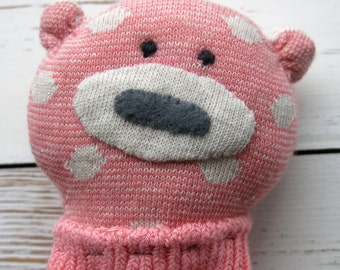 softie animal - sock bear - plush - soft toy - animal toy - softie - cuddly toy - small children - softie - softie bear -plushy animal-uk