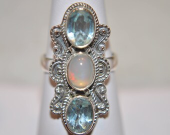 Sterrling Silver and Genuine Gemstone 3 stone Ring with Ethiopian Welo Opal and Light Blue Topaz Size 6.25
