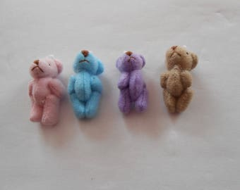 4 mini bears - for your cell phone, make keychains, or other decorations - set 3-9