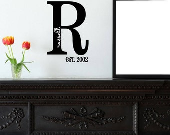 Custom Monogram & Last Name Vinyl Decal Set | Personalized Home Decor, Wall Art Lettering Decals 10.8x16 | 40+ Colors Available! Quick Ship!
