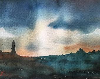 """Original Watercolour Painting Art -  """"Lighthouse"""" by Elise De Silva"""