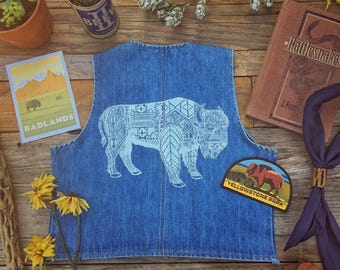 Vintage Levi's Vest - hand printed with Bison or Hawk -AXISMOON