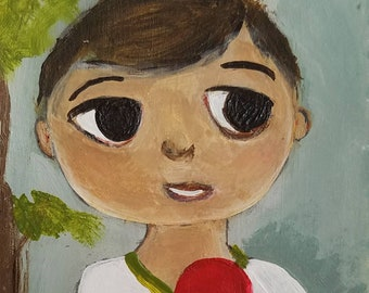 """Original Acrylic Painting Billy and the Red Lolly Pop 6x3"""" Tag"""