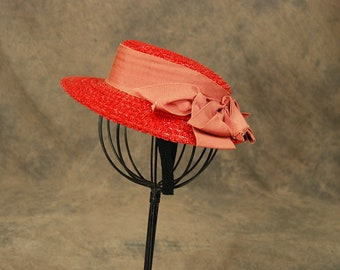 vintage 40s Straw Hat - 1940s Red Straw Boater Hat Tilt Topper Hat