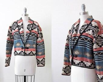 1990s vintage southwest multicolor cotton blanket crop blazer jacket coat s m