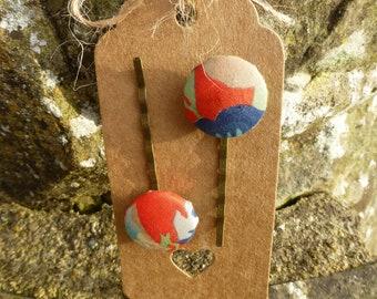 Handmade vintage Liberty fabric bobby pins; hair clips; hair pins