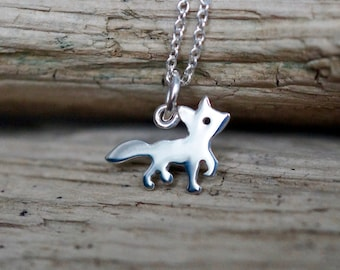 "Joyful fox Sterling silver Pendant Necklace from the ""Petite Ménagerie"" collection by Camille Grenon - Simple Tiny Gift Forest Animal"