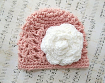 Baby Girl Pink+White Flower Hat, Baby Accessories, Crochet Hat, 0-3,3-6,6-9,9-12 Months, SHIPS WITHIN 1-2 WEEKS