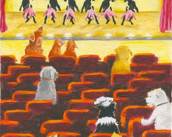 New York Dogs Series Broadway Theatre Mixed Media Image Print On Acid Free Paper