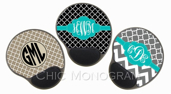 Graduation Gift Monogrammed Mouse Pad with Wrist Rest Memory Foam Wrist Wrest Mouse Pad Monogram New School Custom Desk Office Decor