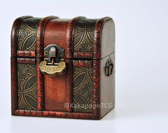 Lockable Wood TCG Deck & Counter Dice Box Chest Mtg Yugioh Pokemon Card Magic The gathering EDH Commander DND Spell Cards Fantasy Coins lcg