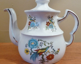 Vintage Ellgreave Wood & Sons English teapot, colorful floral with exotic birds