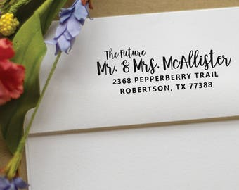 Save the Date calligraphy address stamp - Future Mr. and Mrs. - Wedding Address Stamp - rubber stamp - Custom Wedding Stamp - McAllister
