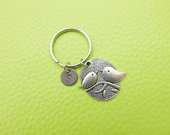 Birds stainless steel Keyring initial keychain