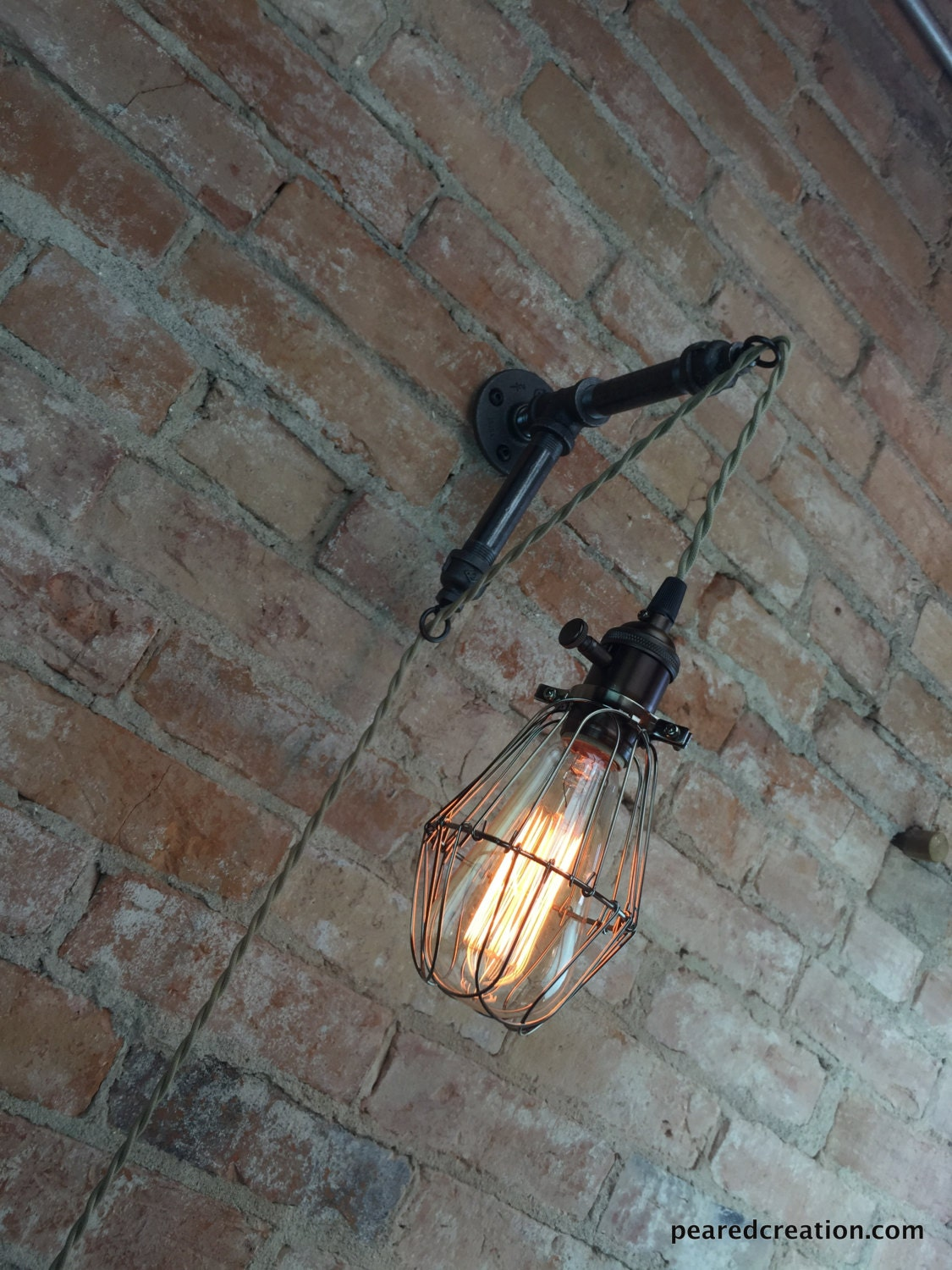Industrial wall sconce caged bulb pendant edison zoom arubaitofo Image collections
