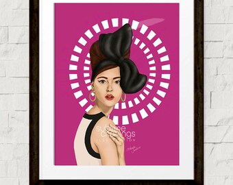 Fashion art - Fashion illustration print - Moschino - Hot pink - Winged Eyeliner and Oversized Bows