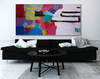XL Colorful Abstract Painting / Abstract Painting / Modern Art / Contemporary Art / Horizontal Painting / Original Art