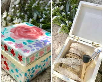 Floral Hand Painted Keepsake Box