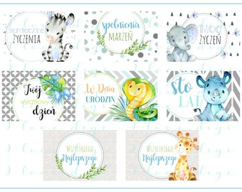 Sweet watercolour baby animals, illustrations, pocket mirrors, tags, scrapbooking, cupcake toppers, Birthday Boy, POLISH LANGUAGE VERSION