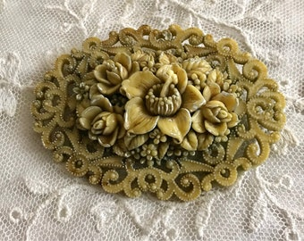 French Ivory Celluloid Brooch Vintage