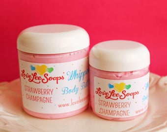 Whipped Body Butter Strawberry Champagne - Whipped Lotion, Body Frosting, Body Lotion, Hand Cream, Body Cream, Gift For Mom, Bridal Shower