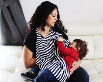 Best Selling Breastfeeding Cover (Nursing Cover) in Navy & Ivory Stripes - The Perfect Solution for Nursing in Public