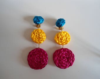 Funky 80s style colourful vintage earrings.