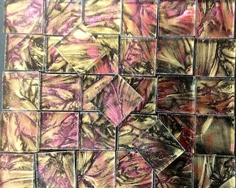 CHAMPAGNE & RED - Van Gogh Glass Mosaic Tile B24