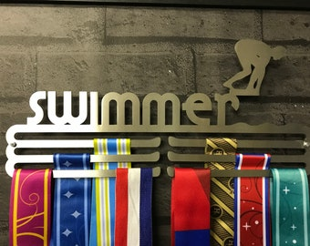 Male Swimmer Triple Tier Stainless Steel Medal Hanger Display