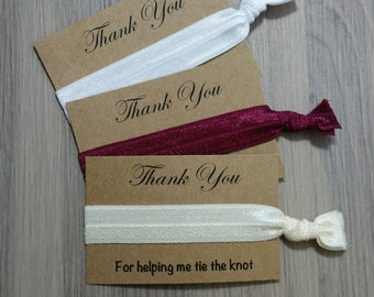 Thank You For Helping Me Tie The Knot Favors | Wedding Thank You Favors | Hair Tie Favors