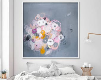 Abstract Painting Print Grey and Pink Modern Wall Art Large Wall Art Romantic Wall Art Large art prints Sparkles 21 by Duealberi
