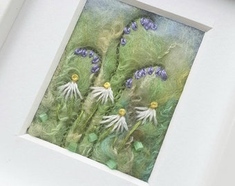 Bluebells and daisies felted wool art with free motion and hand embroidery - original felted picture - textile art - miniature fiber art