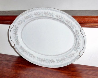 """12"""" Oval HARMONY HOUSE VIRGINIA Lee Fine China Platter Chop Plate Serving Pattern 3657 Japan White Floral Gold Trim Very Nice Condition"""