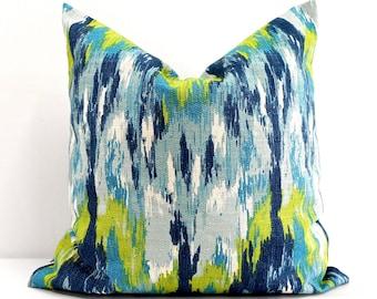 BLUE PILLOW. Ikat Craze  Blue Pillow cover. Blue throw pillow. textured pillow case.birch frost fabric. Select size