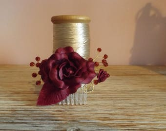 Burgundy pearls and satin flower hair comb