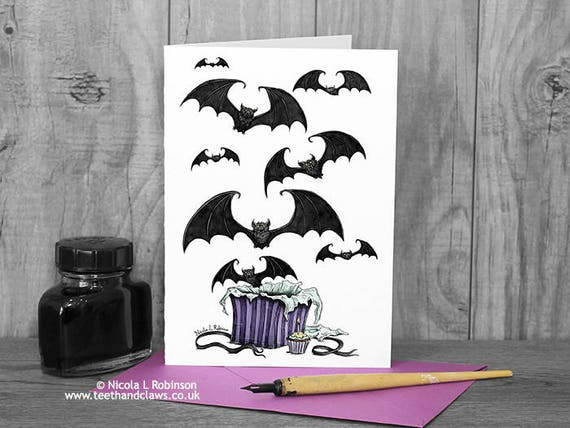 Bats birthday card halloween birthday card gothic bats like this item bookmarktalkfo Gallery