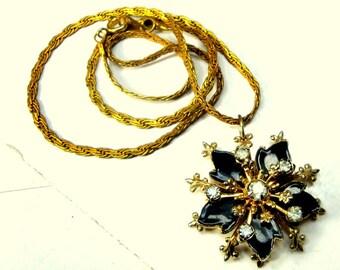 SMALL Medieval Blazing Star Medallion Pendant, Thrones Game, Black Enamel, White Rhinestones, Gold Fleur De Lis Design, Age Darkened Chain