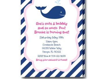 Girls Whale Party Invitation, Pink Whale Party Invite with Editable Text, Kids Whale Invitation, Whale Party, Instant Download, Templett