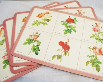 Rose Placemats/Pink Rose Placemats/Red Rose Placemats/Cork Board Placemats/Set Of Four Hardboard Placemats/P.J.Redoute/Jason Co/Rose Decor