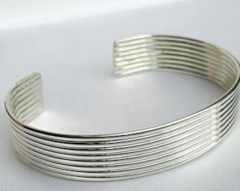 Silver cuff bracelet, Silver Wire Cuff Bracelet, handmade bracelet, wide silver cuff, handmade jewelry