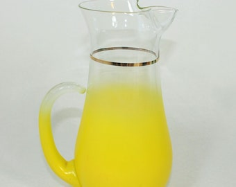 Blendo Yellow Pitcher by West Virginia Glass, 1960's vintage