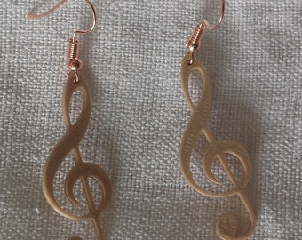 Taupe treble clef earrings