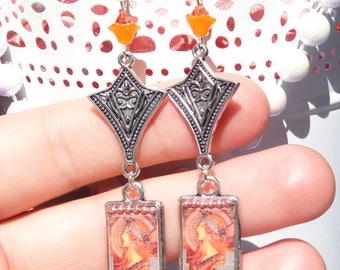 FREE SHIPPING Alphonse Mucha Handmade Resin Dangle Earrings - Mucha Earrings - Art Nouveau - Mucha Jewelry - Mother's Day Gifts -Lightweight