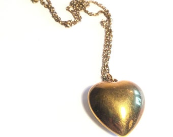 """Vintage Large Brass Puffy Heart Pendant Sweater Necklace, Long Necklace, Chunky 32"""" (81.28 cm) Chain, 1.75""""  (4.5 cm)x 1.5"""" (3.8 cm) Pendant"""