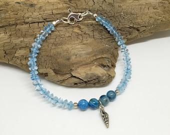 Balance - Blue Crazy Lace Agate & Quartz Sea Shell Bracelet