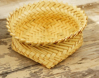 Vintage 70s-80s Native American Straw Basket Bowl Tribal Boho Hippie