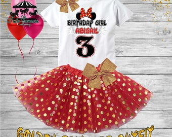 3rd Birthday Tutu Outfit, Minnie Mouse Birthday Outfit, Birthday shirt, Tutu Set (gt76)