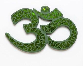 OM Symbol Mosaic Green Wall Decor  3 Sizes