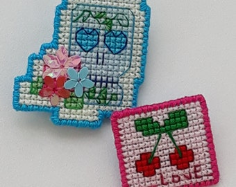 Cross stitch Skull and cherries badges/brooches/pins with floral sequin detail